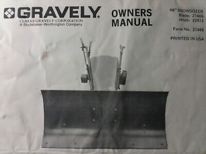Gravely Garden Tractor 48 Dozer Push Plow Blade Implement Owner & Parts Manual