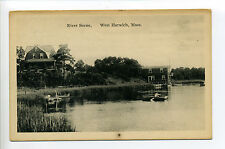 Cape Cod West Harwich MA Mass River Scene, person rowing, house, boats
