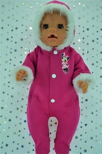 """Play n Wear Dolls Clothes To Fit 17"""" Baby Born HOT PINK FLEECE SNOWSUIT"""