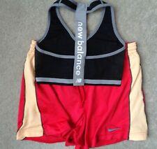 2 Lot Nike Dri Fit Womens M Red Gold Weight Lifting Training Shorts & Sports Bra