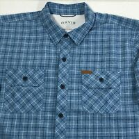 Orvis Mens Blue White Plaid Short Sleeve Button Down Shirt Polyester Size Large