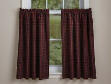 Country Dorset Lined Tier Curtains 72WX36L Red Black Tan Plaid Cotton Farmhouse
