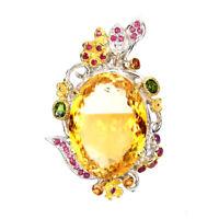 Handmade 44.62ct Citrine Ruby Sapphire Gems 925 Sterling Silver Pendant & Brooch