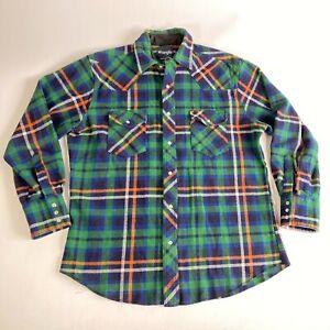 Wrangler Flannel shirt men's pearl snap buttons size L tartan green/blue