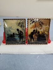 2 Convex Bubble Glass Reverse Painted Victorian Silhouette Pictures