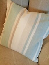 "REVERSIBLE 16"" Laura Ashley Awning Stripe Duck Egg Blue Fabric Cushion Cover"
