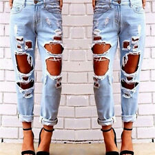 Womens Destroyed Ripped Hole Slim Denim Pants Boyfriend Jeans Trousers Pencil