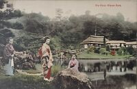 Vintage Postcard Tea House Hikone Park Japan Women Kimono Tea House