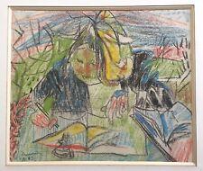 Chastel Roger pastel sur papier signé 1943 art abstrait abstraction cubisme