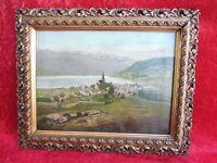Schönes , sehr altes Gemälde, Landschaft , Stadt ( Dorf ) am See