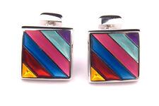 Thomas Pink Cufflinks Silver Multi Coloured Stripes Enamel squares