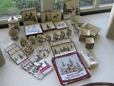 Christmas Snow Valley Dinnerware Dishes Lodge Cabin Woodland Moose Serving 8