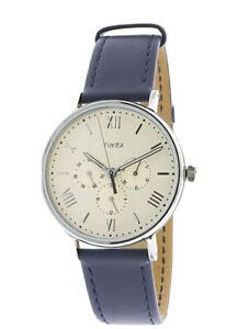Timex Unisex TW2R29200 Southview 41mm Multifunction Blue White Leather Strap New