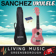 New Sanchez Hawaiian Pink Floral Soprano Uke Ukulele Pack for Beginner