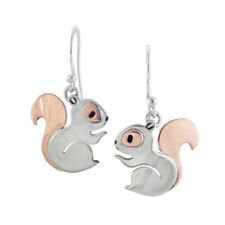 Squirrel Earrings Dangle Silver Copper Drop Jewelry Forest Animal Lover