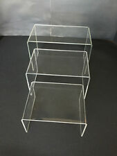 """(3 Pack) Acrylic Plastic Clear Riser Display Stand 5"""", 6,"""", 7 """" Fixtures Jewelry"""