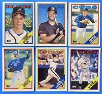 (6) 1988 Topps Rookie Card Lot Roberto Alomar Mark Grace Tom Glavine