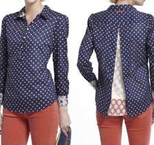 Trovata Birds of Paradis Anthropologie Size XS Navy Lace Polka Dot Blouse Shirt
