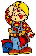 "2.5"" BOB THE BUILDER PAINT BRUSH FABRIC APPLIQUE IRON ON CHARACTER"