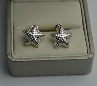 Lovely 925 Sterling Silver Plated Patterned Star Shape Stud Earrings