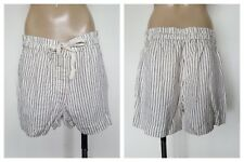 COUNTRY ROAD Ladies White 100% Linen Pinstripe Summer Beach Shorts Size 10