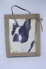 """New Robert J. May 8"""" x 10"""" Slate Boston Terrier Painting Hanging Hand Painted"""