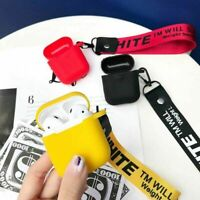 Hype Street Trend OFF x White Apple AirPods 1 2 Pro Case Cover Silicone Lanyard