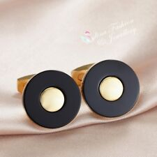 18K Yellow Gold Plated Simulated Agate Round Stylish Black Men`s Cufflinks