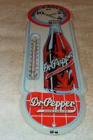 """VINTAGE """"DR PEPPER"""" SODA POP 18"""" PORCELAIN METAL GASOLINE & OIL THERMOMETER SIGN"""