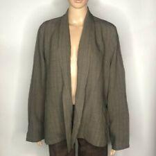 Eileen Fisher Vintage Cut Open Front  Cardigan Blazer Size L Petite Linen Long S