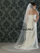 "Illusions Bridal Veils - Two Layer 90"" Long Chapel Length w/ Raw Edge -Dia White"