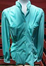 Vintage Mint Green Sz 16 Women's Fitted Polyester Mandarin Collar Blouse w/pckts