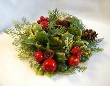 """Vintage Candle Ring Christmas Plastic Greenery Pinecone Apple Holly Berries 9"""""""