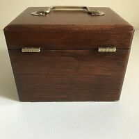 Vintage Wooden Hand Made Fishing Reel Case & Accessories Engraved Col C R Boehm