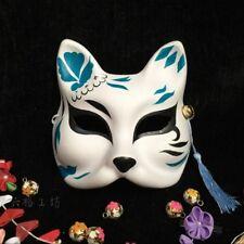 Half Face Hand-Painted Japanese Fox Mask Demon Kitsune Noh Cosplay Masquerade