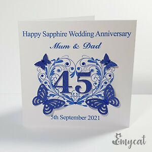 Personalised Handmade Sapphire 45th Wedding Anniversary Card **Free UK P&P**