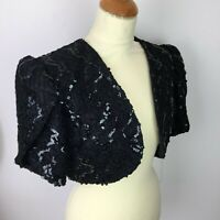True Vintage Hamells Black Sequin Bolero Jacket Ball Evening Cocktail Sz 10 12
