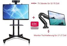 TV-Standfuß 32-65 Zoll höhenverstellbar + Monitor-Tischhalterung F80 aus Alumiun