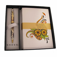 CROSS BOTANICA GOLDEN MAGNOLIA BALLPOINT PEN & STATIONERY GIFT SET NEW IN BOX