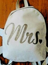 "Bridal Gift - Backpack with ""Mrs"" on the Front - Adjustable Straps and Gold Ring"