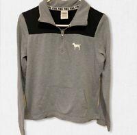 Victoria Secret Pink Quarter Zip Sweatshirt Size XS Black Gray Pockets Logo