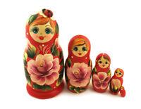 "Red Matreshka MATRYOSHKA 5 Nesting Doll Floral Rose Lady Bug RUSSIAN Gift 4"""