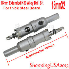 2X18mm Carbide Tip Extended Alloy Drill Bits Hole Saw Cutter Stainless Steel@@