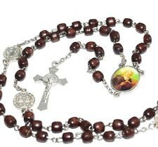 St Benedict Rosary Beads Necklace Benedict center Silver Cross wood Rosary