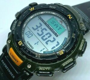 Casio Pathfinder PAG-40 Men 100m Chrono Alti-Baro Compass Watch Hour~New Battery