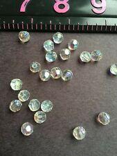 500 8MM Aurora Borealis Cut Glass Crystal Antique Vintage Beads AB