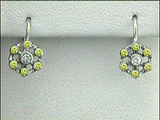 Fancy Yellow Natural Diamond Earrings 18k T.T. with total weight of 0.30ct