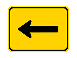 W16-5P Turn Arrow Sign Yellow - 24 x 18 - A Real Sign. 10 Year 3M Warranty.