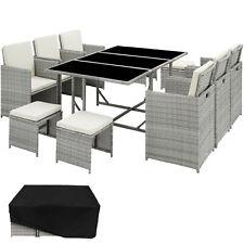 Poly Rattan Sitzgarnitur Gartenmöbel Lounge Stuhl Tisch Hocker Hellgrau B-Ware