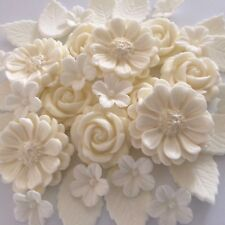 IVORY ROSE BOUQUET Edible Sugar Paste Flowers Cup Cake Decorations Toppers